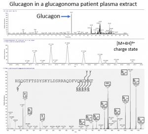 Example mass spectrum showing glucagon peak
