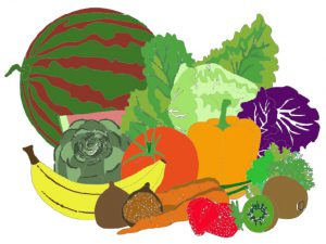 Brightly coloured picture of fruit and vegetables from the MRC Cambridge activity book