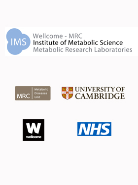 Logos:  Wellcome-MRC-Institute of Metabolic Science-Metabolic Research Laboratories; MRC Metabolic diseases unit; University of Cambridge; Wellcome Trust; NHS