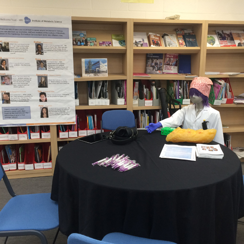 Taylor the IMS-MRL Public Engagement mannequin waits for visitors to the careers table